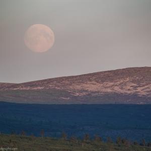 The full Moon rises above the Kiilopää fell in Finnish Lapland