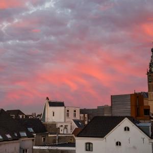 Red sky in Nijmegen in the Netherlands