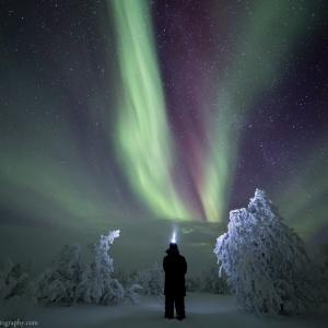 Self Portrait under the Aurora in Inari