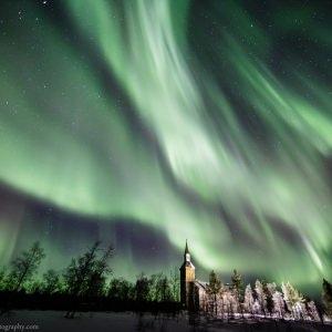 Aurora Above the Church of Utsjoki in Finnish Lapland