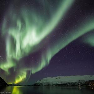 Aurora above a Norwegian Fjord in Finnmark