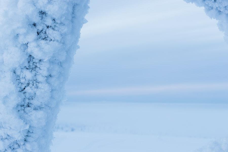 The snow covered leg of the wooden observation tower at Kaunispää
