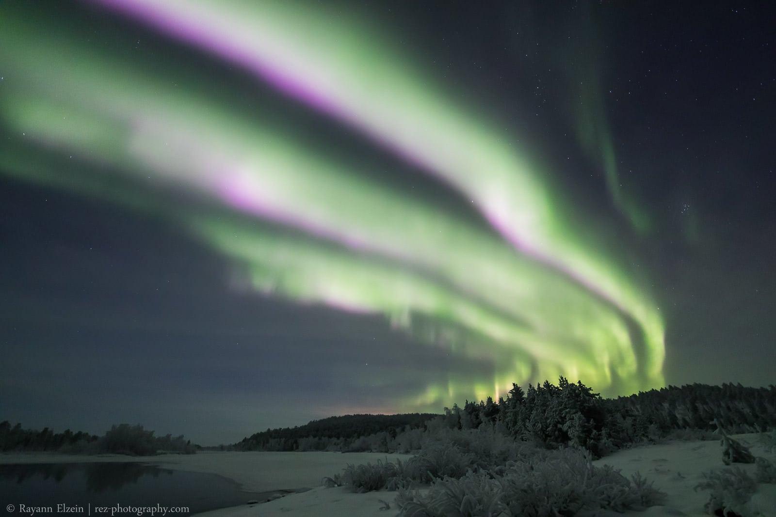 Triple Purple Fringe And Northern Lights Near Inari In Lapland