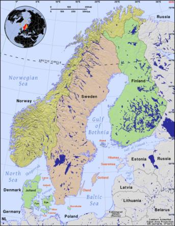 carte de la Finlande, pays du soleil de minuit